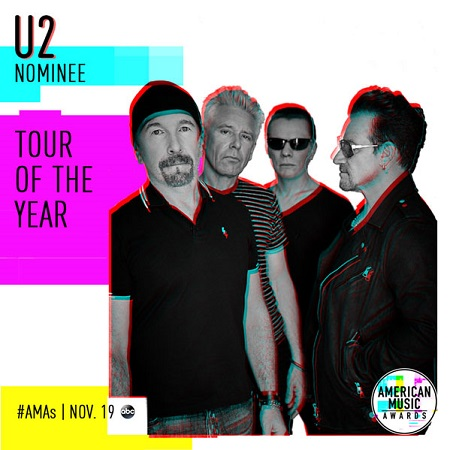 U2 nominados al 'Tour Of The Year 2017' en los American Music Awards